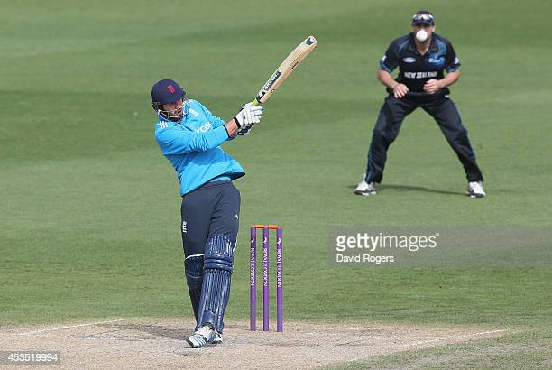 James Vince of England Lions pulls the ball but is caught out during the Triangular Series match between the England Lions and New Zealand A at New...