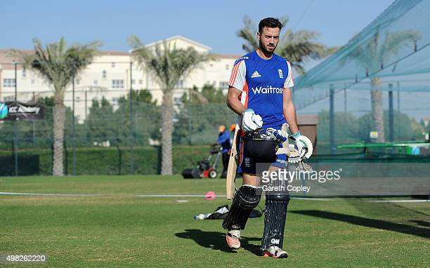 James Vince of England prepares to bat during a nets session at the ICC Cricket Academy on November 22 2015 in Dubai United Arab Emirates