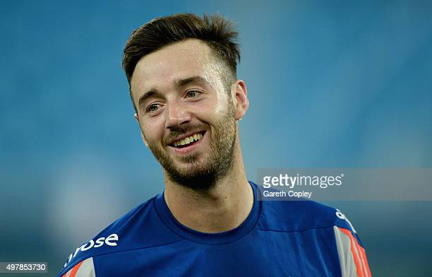 James Vince of England smiles during a nets session at Dubai Cricket Stadium on November 19 2015 in Dubai United Arab Emirates