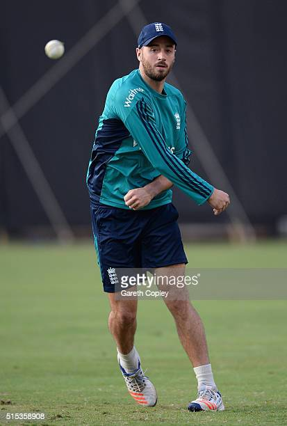 James Vince of England throws during a nets session at Wankhede Stadium on March 13 2016 in Mumbai India