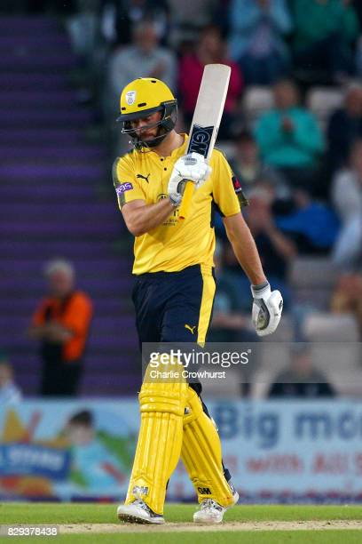 James Vince of Hampshire celebrates his fifty during the NatWest T20 Blast match between Hampshire and Glamorgan The Ageas Bowl on August 10 2017 in...