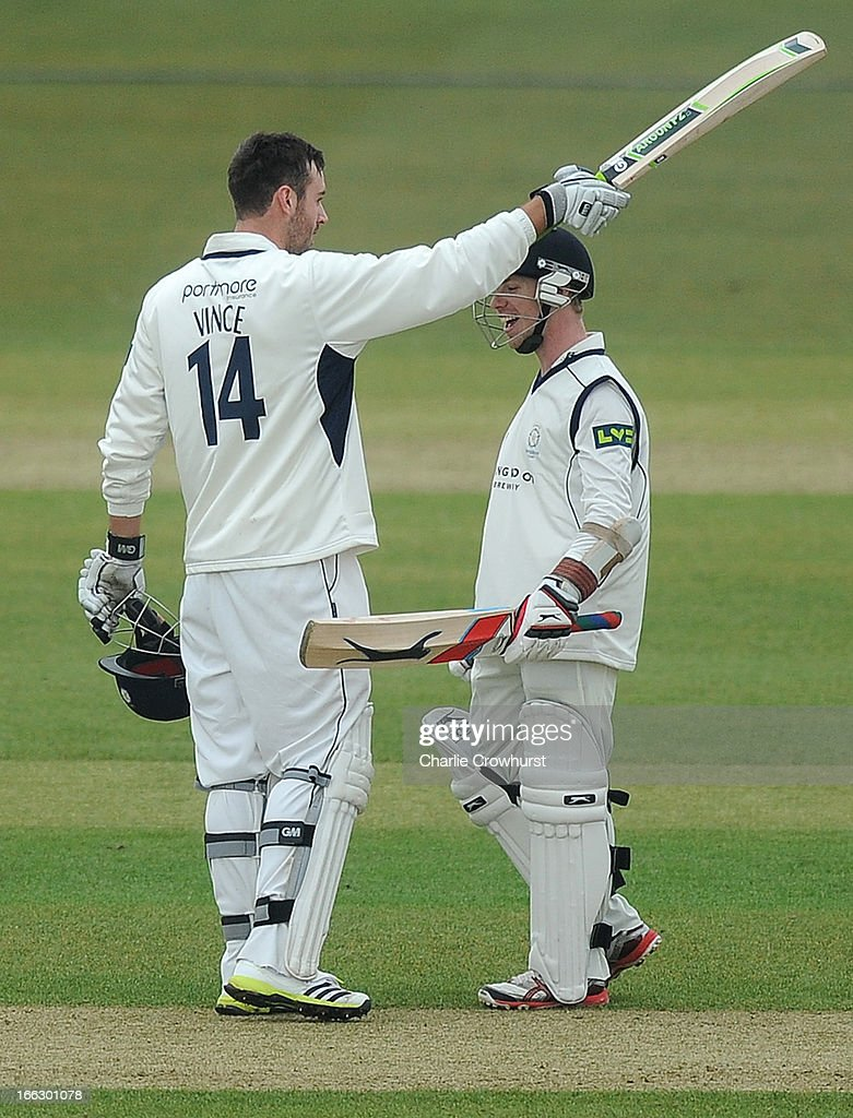 James Vince of Hampshire celebrates with Adam Wheater after making a century during day two of the LV County Championship match between Hampshire and Leicestershire at The Ageas Bowl on April 11, 2013 in Southampton, England.