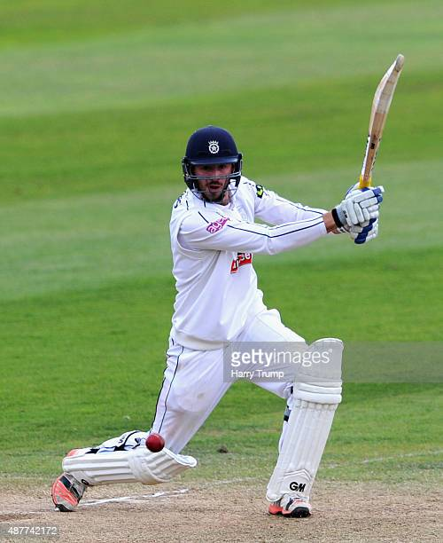James Vince of Hampshire drives during the LV County Championship match between Somerset and Hampshire at The County Ground on September 11 2015 in...