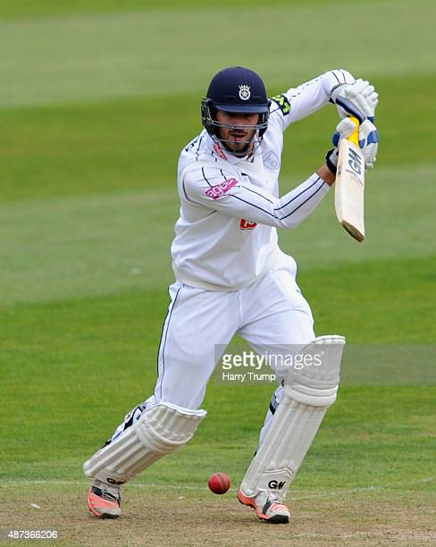 James Vince of Hampshire drives the ball during the LV County Championship match at The County Ground on September 9 2015 in Taunton England