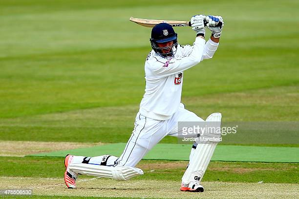 James Vince of Hampshire hits out during Day 2 of the LV County Championship Division One match between Hampshire and Worcestershire at Ageas Bowl on...