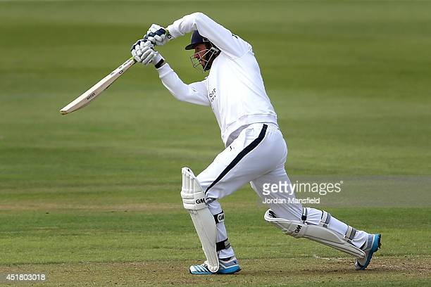 James Vince of Hampshire hits out during day one of the LV County Championship match between Hamshire and Gloucestershire at the Ageas Bowl on July 7...