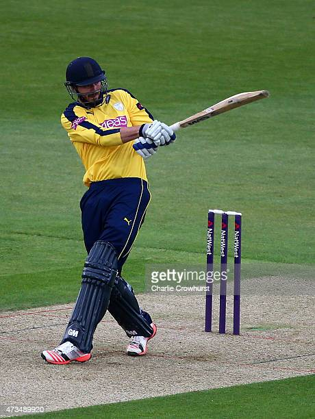 James Vince of Hampshire hits out during the Natwest T20 Blast match between Hampshire and Essex at The Rose Bowl on May 15 2014 in Southampton...