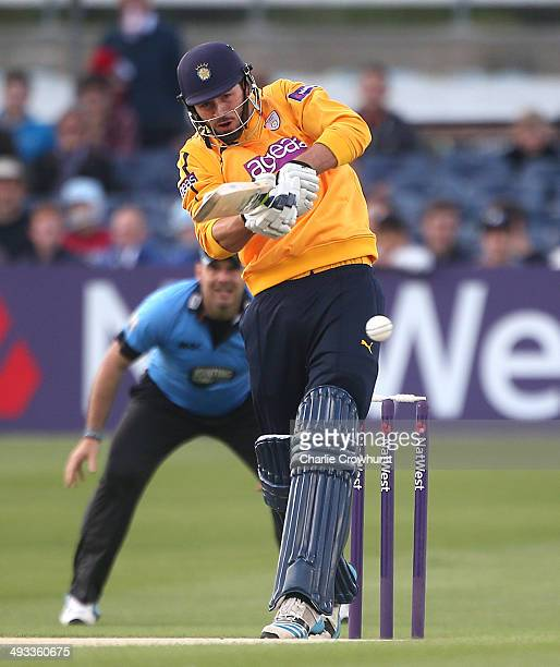 James Vince of Hampshire hits out during the Natwest T20 Blast match between Sussex Sharks and Hampshire at The BrightonandHoveJobscom County Ground...