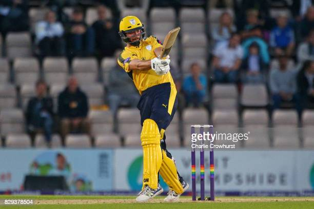 James Vince of Hampshire hits out during the NatWest T20 Blast match between Hampshire and Glamorgan The Ageas Bowl on August 10 2017 in Southampton...