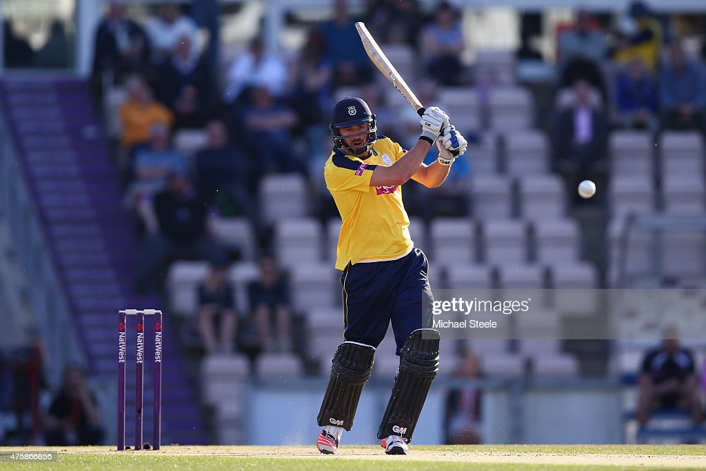James Vince of Hampshire hits straight during the NatWest T20 Blast match between Hampshire and Middlesex at the Ageas Bowl on June 4 2015 in...