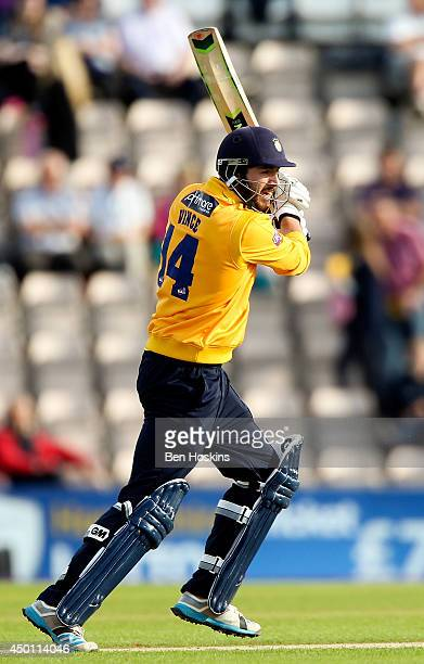 James Vince of Hampshire in action during the Natwest T20 Blast match between Hampshire and Kent Spitfires at Ageas Bowl on June 5 2014 in...