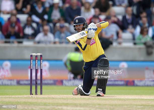 James Vince of Hampshire in action during the NatWest T20 Blast Semi Final match between Hampshire and Lancashire at Edgbaston on August 29 2015 in...