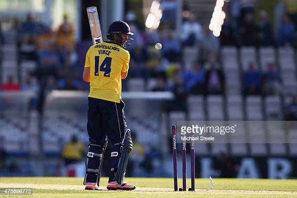 James Vince of Hampshire is bowled by James Franklin of Middlesex during the NatWest T20 Blast match between Hampshire and Middlesex at the Ageas...