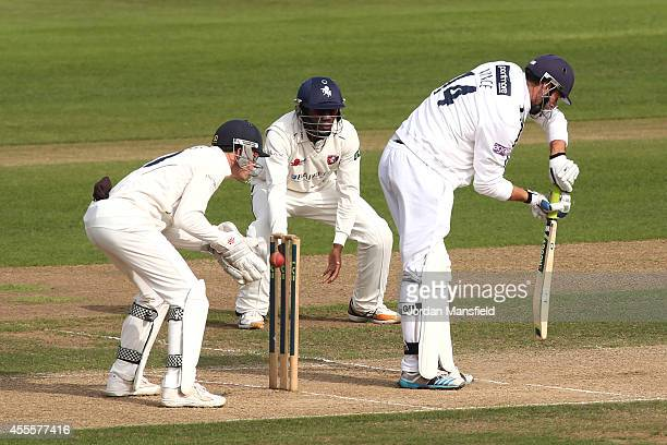 James Vince of Hampshire is caught out by Sam Billings of Kent off a ball by James Tredwell of Kent during day three of the LV County Championship...
