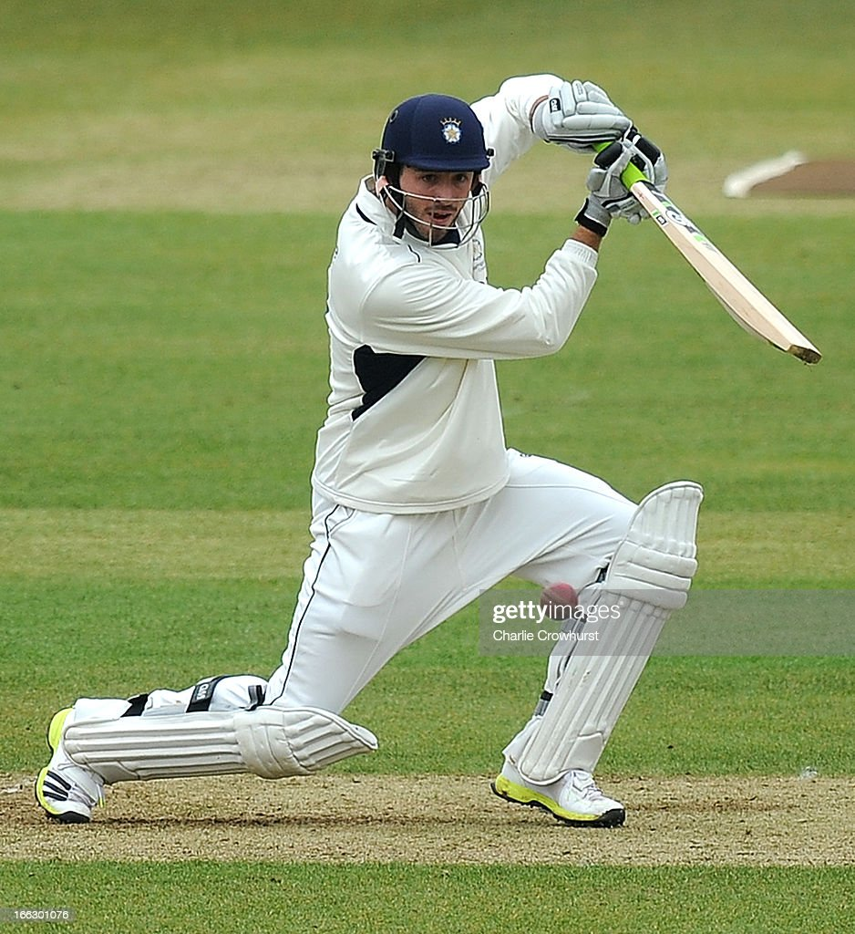 James Vince of Hampshire plays a shot during day two of the LV County Championship match between Hampshire and Leicestershire at The Ageas Bowl on April 11, 2013 in Southampton, England.