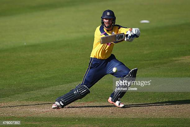 James Vince of Hampshire plays to the offside during the NatWest T20 Blast match between Somerset and Hampshire at The County Ground on June 5 2015...