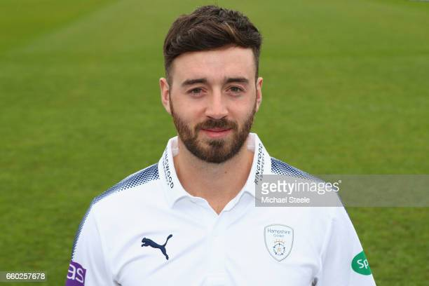 James Vince of Hampshire poses in the Specsavers County Championship kit during the Hampshire County Cricket photocall at the Ageas Bowl on March 29...
