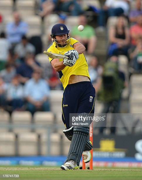 James Vince of Hampshire smashes a six during the Friends Life T20 Quarter Final between Hampshire Royals and Lancashire Lightning at Ageas Bowl on...