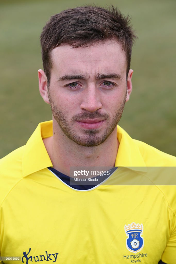 James Vince of Hampshire wearing the Yorkshire Bank 40 Over kit during the Hampshire CCC photocall at The Ageus Bowl on April 8, 2013 in Southampton, England.