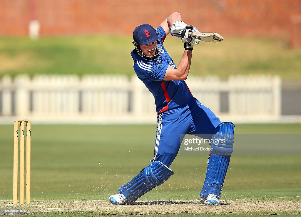 James Vince of the England Lions hits the ball during the International tour match between the Victorian 2nd XI and the England Lions at Junction Oval on February 7, 2013 in Melbourne, Australia.