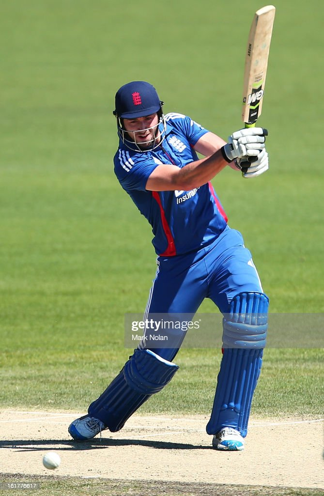 James Vince of the Lions bats during the international tour match between Australia 'A' and the England Lions at Blundstone Arena on February 16, 2013 in Hobart, Australia.