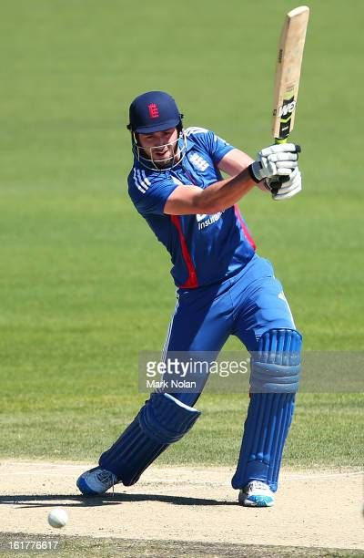James Vince of the Lions bats during the international tour match between Australia 'A' and the England Lions at Blundstone Arena on February 16 2013...
