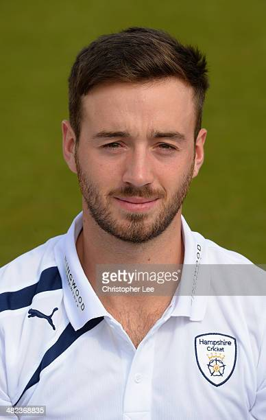James Vince poses for the camera wearing their County kit during the Hampshire CCC Photcall at the Ageas Bowl on April 3 2014 in Southampton England