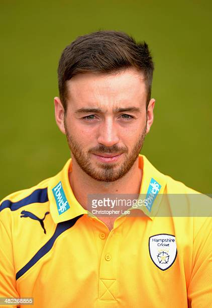 James Vince poses for the camera wearing their T20 kit during the Hampshire CCC Photcall at the Ageas Bowl on April 3 2014 in Southampton England
