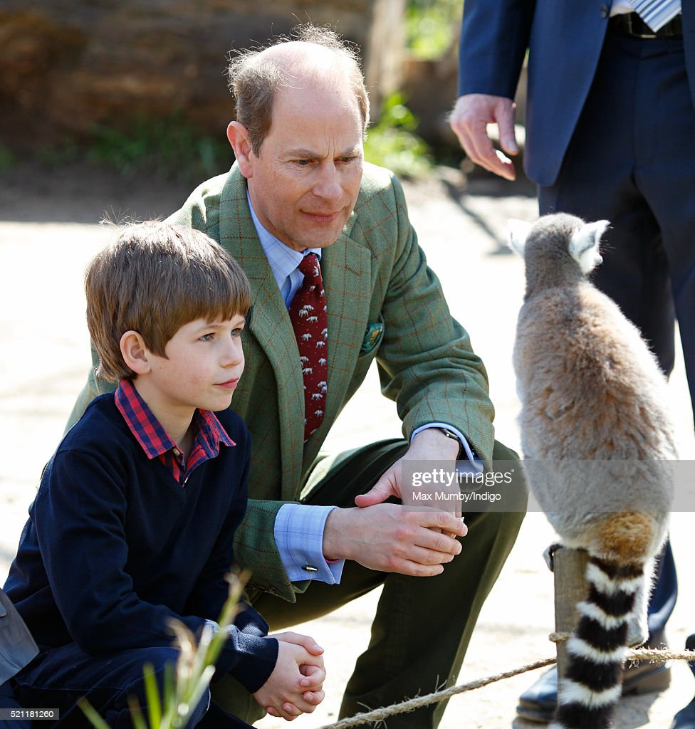 James, Viscount Severn and Prince Edward, Earl of Wessex feed ring-tailed lemurs during a visit to the Wild Place Project at Bristol Zoo on April 14, 2016 in Bristol, England.
