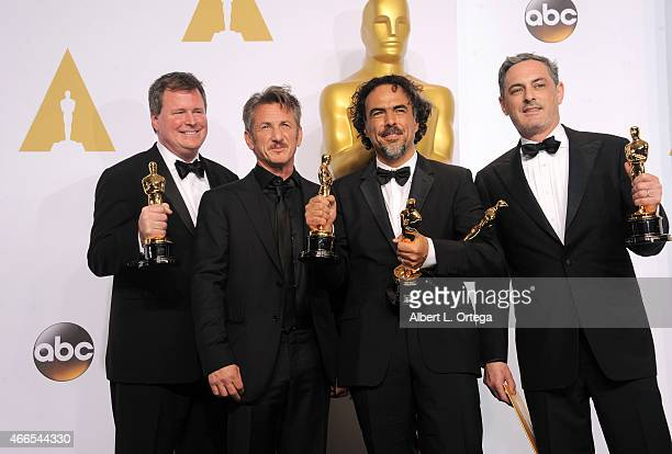 James W Skotchdopole actor Sean Penn producer/director Alejandro G Inarritu winner of Best Original Screenplay Best Director and Best Motion Picture...