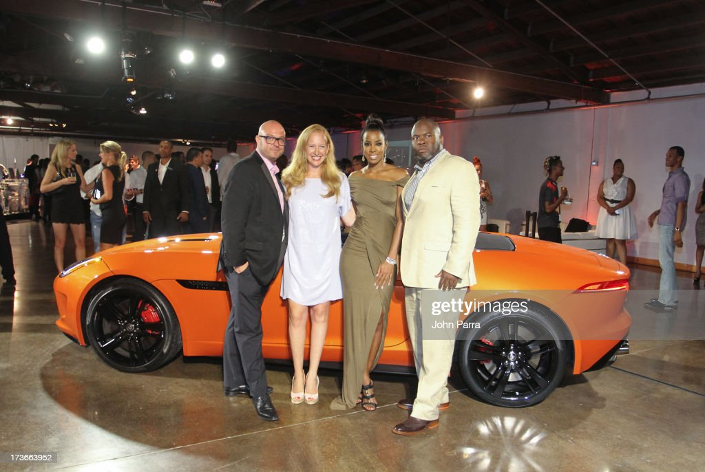 James Ward, Alexandra Wilkis Wilson, <a gi-track='captionPersonalityLinkClicked' href=/galleries/search?phrase=Kelly+Rowland&family=editorial&specificpeople=201760 ng-click='$event.stopPropagation()'>Kelly Rowland</a> and Ray Warren attend the 2014 Jaguar F-TYPE on display at the Jaguar and Gilt City event to celebrate the #MyTurnToJag social contest at Soho Studios on July 15, 2013 in Miami, Florida.