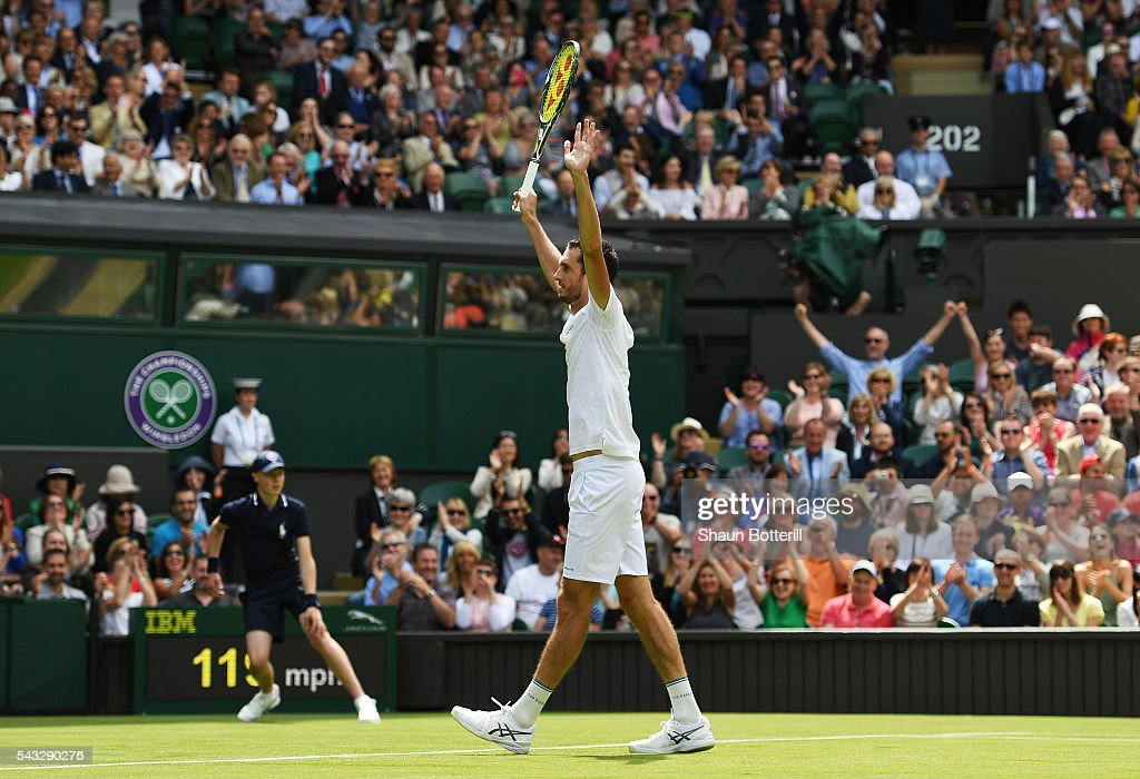 <a gi-track='captionPersonalityLinkClicked' href=/galleries/search?phrase=James+Ward+-+Tennis+Player&family=editorial&specificpeople=7863903 ng-click='$event.stopPropagation()'>James Ward</a> of Great Britain celebrates during the Men's Singles first round against Novak Djokovic of Serbia on day one of the Wimbledon Lawn Tennis Championships at the All England Lawn Tennis and Croquet Club on June 27th, 2016 in London, England.