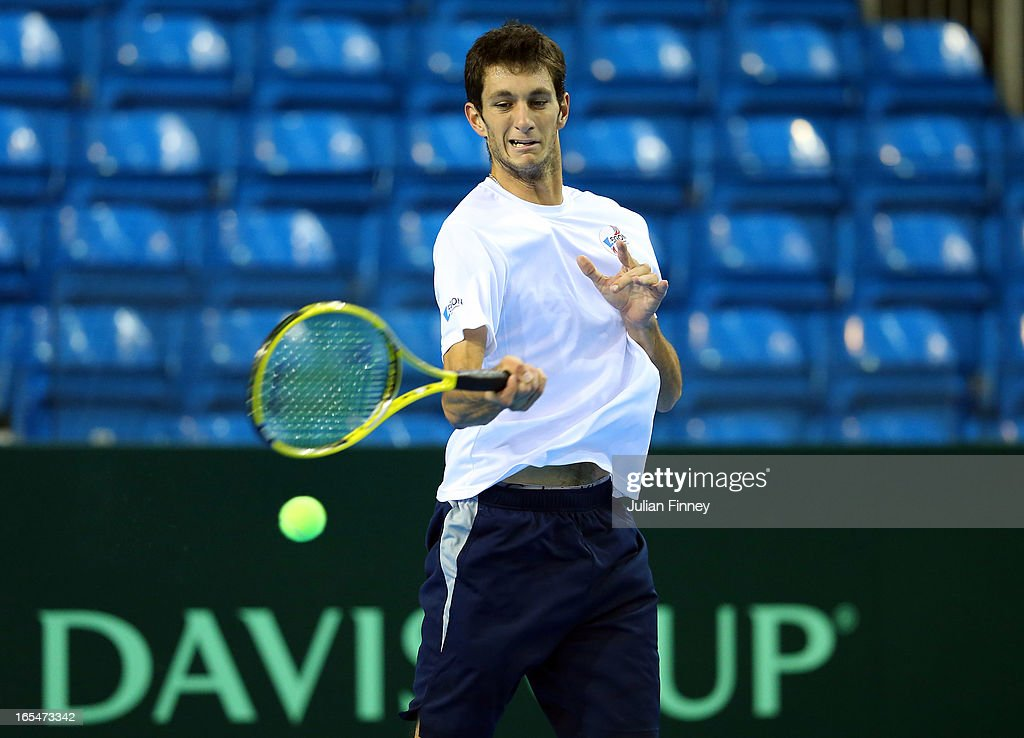 James Ward of Great Britain in a practice session during previews for the Davis Cup match between Great Britain and Russia at the Ricoh Arena on April 4, 2013 in Coventry, England.