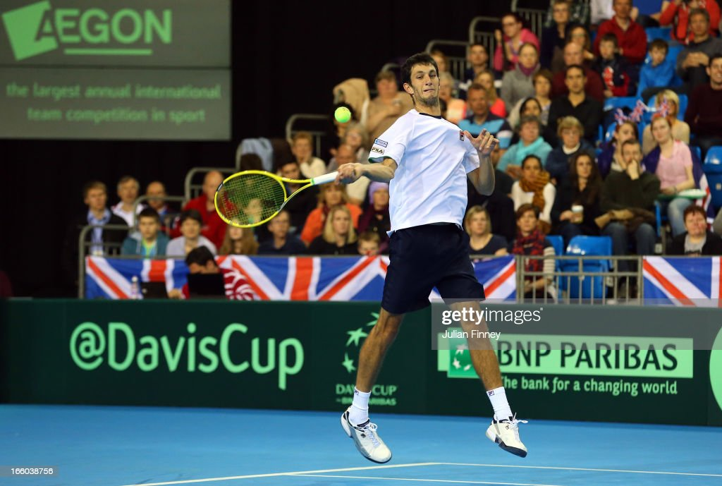 James Ward of Great Britain in action against Dmitry Tursunov of Russia during day three of the Davis Cup match between Great Britain and Russia at the Ricoh Arena on April 7, 2013 in Coventry, England.