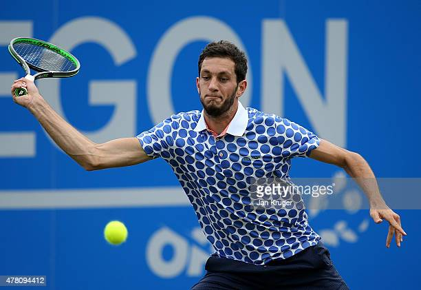 James Ward of Great Britain in action against Tim Smyczek of USA on day two of the Aegon Open Nottingham at Nottingham Tennis Centre on June 22 2015...