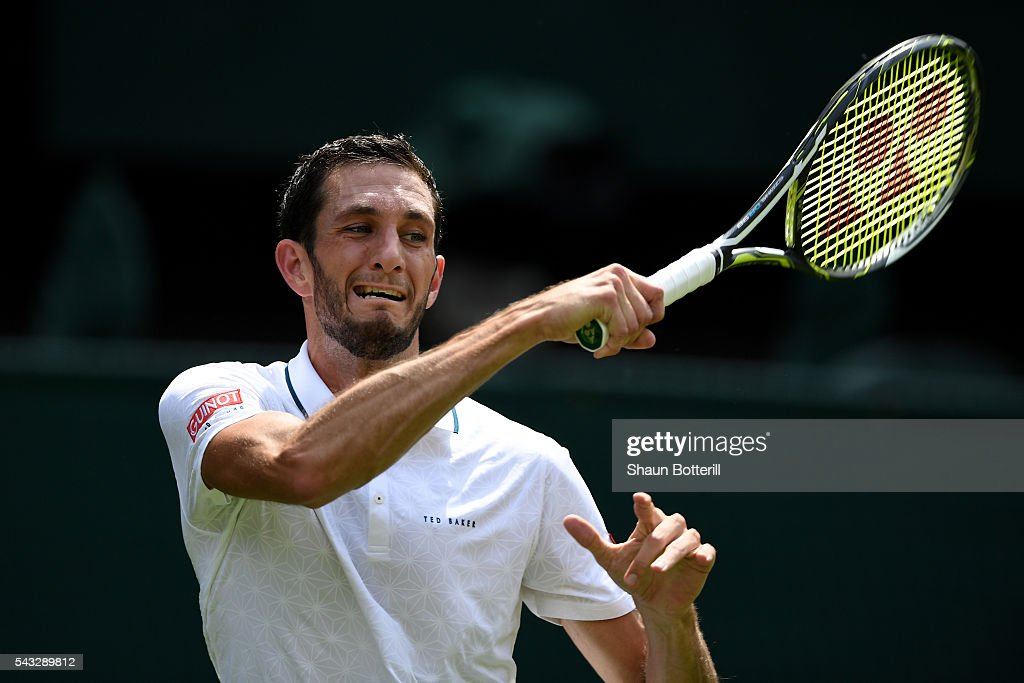 <a gi-track='captionPersonalityLinkClicked' href=/galleries/search?phrase=James+Ward+-+Tennis+Player&family=editorial&specificpeople=7863903 ng-click='$event.stopPropagation()'>James Ward</a> of Great Britain plays a forehand shot during the Men's Singles first round against Novak Djokovic of Serbia on day one of the Wimbledon Lawn Tennis Championships at the All England Lawn Tennis and Croquet Club on June 27th, 2016 in London, England.