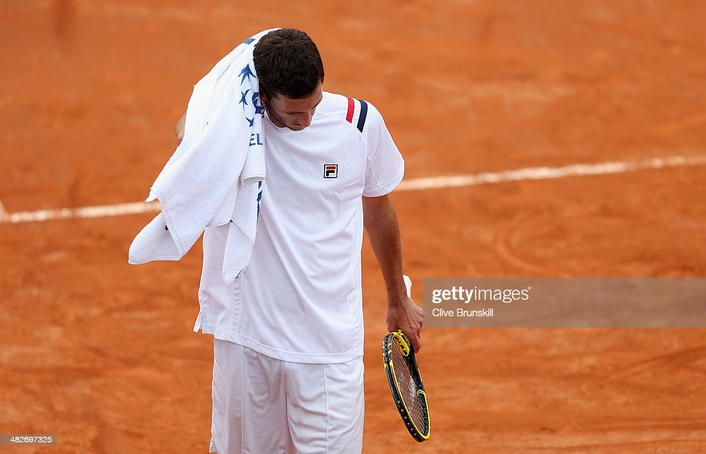 James Ward of Great Britain shows his dejection against Fabio Fognini of Italy during day one of the Davis Cup World Group Quarter Final match between Italy and Great Britain at Tennis Club Napoli on April 4, 2014 in Naples, Italy.