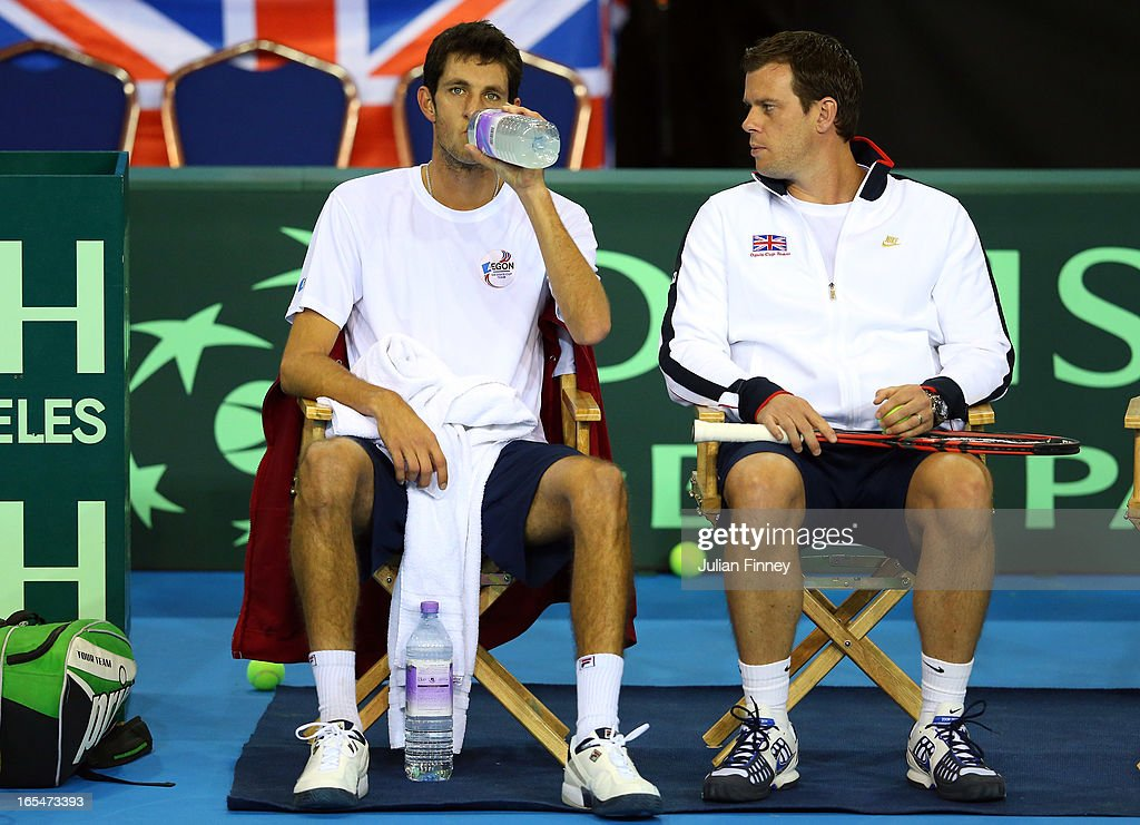 James Ward of Great Britain with Captain <a gi-track='captionPersonalityLinkClicked' href=/galleries/search?phrase=Leon+Smith+-+Tennis+Coach&family=editorial&specificpeople=12698515 ng-click='$event.stopPropagation()'>Leon Smith</a> during previews for the Davis Cup match between Great Britain and Russia at the Ricoh Arena on April 4, 2013 in Coventry, England.