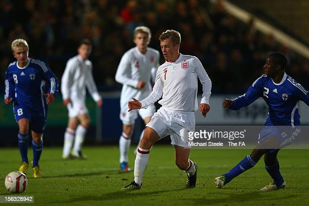 James Ward Prowse of England U19's lays off a pass as Glen Kamara of Finland U19's looks on during the International Friendly match between England...