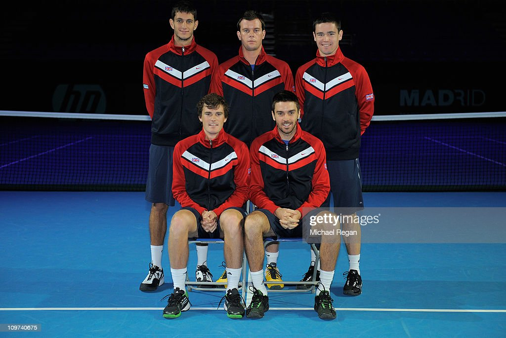 James Ward, team captain <a gi-track='captionPersonalityLinkClicked' href=/galleries/search?phrase=Leon+Smith+-+Tennis+Coach&family=editorial&specificpeople=12698515 ng-click='$event.stopPropagation()'>Leon Smith</a>, <a gi-track='captionPersonalityLinkClicked' href=/galleries/search?phrase=Jamie+Baker&family=editorial&specificpeople=583109 ng-click='$event.stopPropagation()'>Jamie Baker</a>, <a gi-track='captionPersonalityLinkClicked' href=/galleries/search?phrase=Jamie+Murray+-+Tennis+Player&family=editorial&specificpeople=4393751 ng-click='$event.stopPropagation()'>Jamie Murray</a> and Colin Fleming of the GB team pose during the draw for the Davis Cup tie between Great Britain and Tunisia at Bolton Arena on March 3, 2011 in Bolton, England.