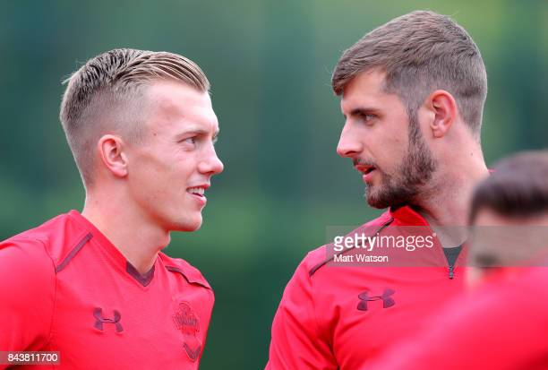 James WardProwse and Jack Stephens during a Southampton FC training session at the Staplewood Campus on September 7 2017 in Southampton England