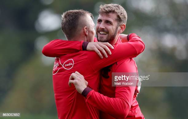 James wardProwse and Jack Stephens during a Southampton FC training session at the Staplewood Campus on October 19 2017 in Southampton England