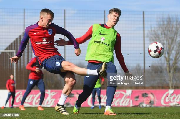 James WardProwse and John Stones of England in action during an England training session on March 23 2017 in Bochum Germany England are due to play...