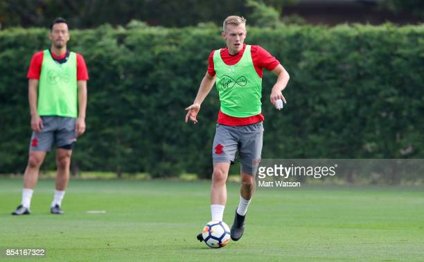 James Wardprowse during a Southampton FC training session at the Staplewood Campus on September 26 2017 in Southampton England