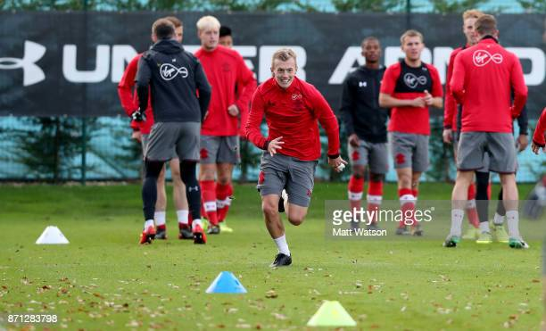 James WardProwse during a Southampton FC training session at the Staplewood Campus on November 7 2017 in Southampton England