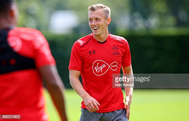 James WardProwse looks on during a Southampton FC training session ahead of their opening game of the season against Swansea at the Staplewood Campus...
