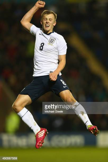 James WardProwse of England celebrates scoring his sides fourth goal during the 2015 UEFA European U21 Championship Qualifying match between England...