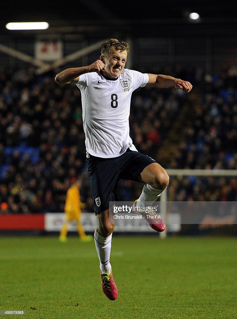 James Ward-Prowse of England U21 celebrates scoring his side's fourth goal during the 2015 UEFA European U21 Championships Qualifying match between England U21 and San Marino U21 at Greenhous Meadow on November 19, 2013 in Shrewsbury, England.