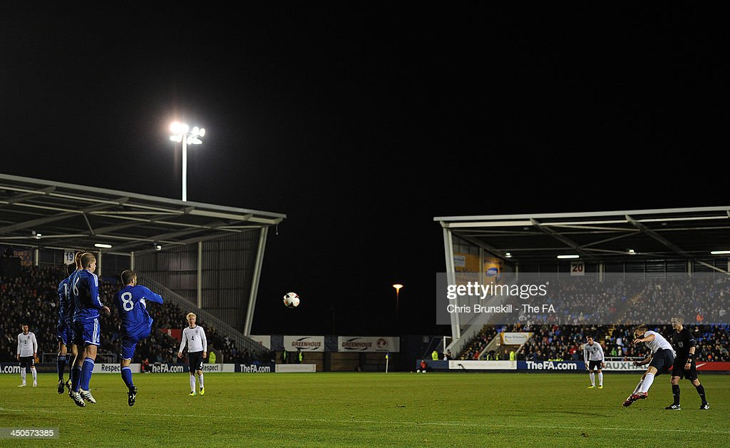 James Ward-Prowse of England U21 scores his side's fourth goal during the 2015 UEFA European U21 Championships Qualifying match between England U21 and San Marino U21 at Greenhous Meadow on November 19, 2013 in Shrewsbury, England.