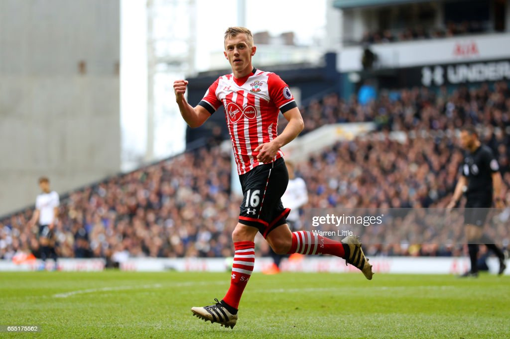 James Ward-Prowse of Southampton celebrates scoring his sides first goal during the Premier League match between Tottenham Hotspur and Southampton at White Hart Lane on March 19, 2017 in London, England.